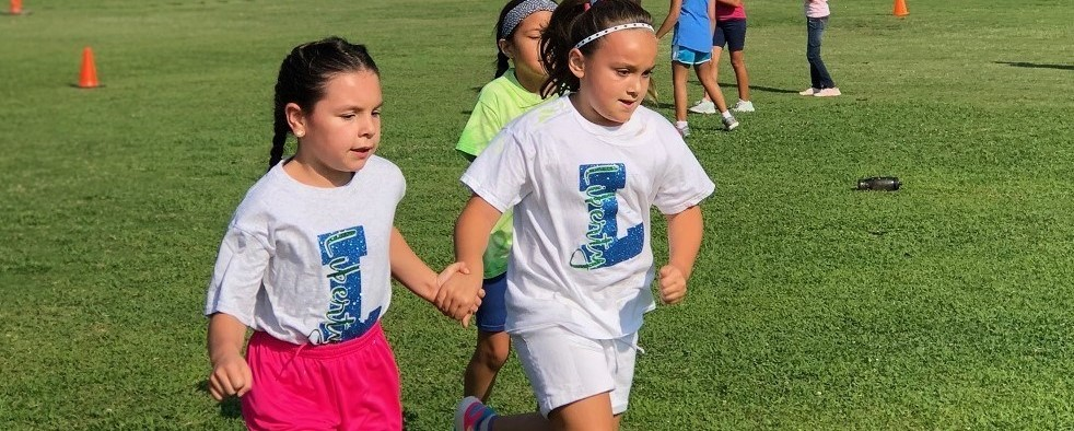 Girls running at jog-a-thon